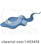 Clipart Of A Cartoon Sting Ray Royalty Free Vector Illustration