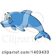 Clipart Of A Cartoon Happy Dolphin Royalty Free Vector Illustration