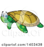 Clipart Of A Cartoon Happy Sea Turtle Royalty Free Vector Illustration