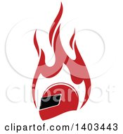 Clipart Of A Red Racing Helmet And Flames Royalty Free Vector Illustration