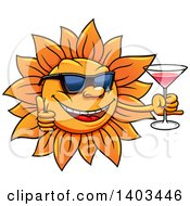 Clipart Of A Happy Summer Sun Wearing Sunglasses Giving A Thumb Up And Holding A Cocktail Royalty Free Vector Illustration by Vector Tradition SM