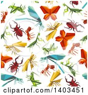 Clipart Of A Seamless Background Pattern Of Origami Bugs Royalty Free Vector Illustration
