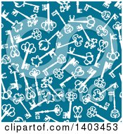 Clipart Of A Seamless Background Pattern Of Skeleton Keys On Blue Royalty Free Vector Illustration by Vector Tradition SM