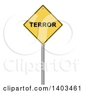 Clipart Of A 3d Yellow Terror Warning Sign On A White Background Royalty Free Illustration