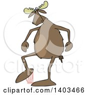 Clipart Of A Cartoon Moose Stepping In Gum Royalty Free Vector Illustration
