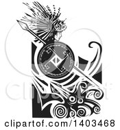 Clipart Of A Black And White Woodcut Profiled Medusa With Lionfish Hair Holding A Spear And Shield In Waves Over A Squid Royalty Free Vector Illustration by xunantunich