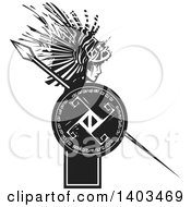 Clipart Of A Black And White Woodcut Profiled Medusa With Lionfish Hair Holding A Spear And Shield Royalty Free Vector Illustration by xunantunich