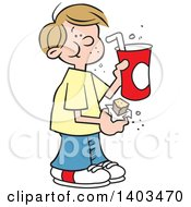 Clipart Of A Cartoon Dirty Blond White Boy Eating A Candy Bar And Drinking A Fountain Soda Royalty Free Vector Illustration
