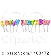 Colorful Happy Birthday Text On Sticks