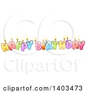 Colorful Happy Birthday Text With Candles