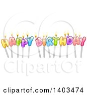 Colorful Happy Birthday Text With Candles On Sticks