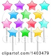 Clipart Of Colorful Stars On Sticks Royalty Free Vector Illustration by Liron Peer