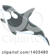 Clipart Of A Cute Killer Whale Swimming Royalty Free Vector Illustration by Alex Bannykh