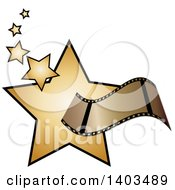 Clipart Of A Film Strip Over Golden Stars Royalty Free Vector Illustration