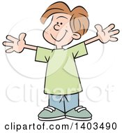 Clipart Of A Cartoon Happy Caucasian Boy With Open Arms This Big Royalty Free Vector Illustration by Johnny Sajem