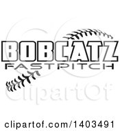 Clipart Of Black And White Bobcatz Baseball Text Over Stitches Royalty Free Vector Illustration