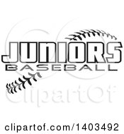 Clipart Of Black And White Juniors Baseball Text Over Stitches Royalty Free Vector Illustration