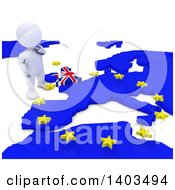 Clipart Of A 3d White EU Referendum Man Standing Over A Map On A White Background Royalty Free Illustration