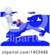 3d White EU Referendum Man Standing Over A Map On A White Background