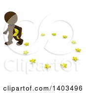 Clipart Of A 3d Brown EU Referendum Man Carrying A Star And Walking Away From A Circle On A White Background Royalty Free Illustration by KJ Pargeter