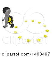 Clipart Of A 3d Black EU Referendum Man Carrying A Star And Walking Away From A Circle On A White Background Royalty Free Illustration