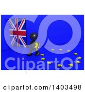 Clipart Of A 3d Black EU Referendum Man Carrying A Star And Walking Away From A Ring On A Blue Background Royalty Free Illustration