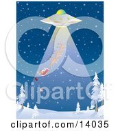 Presents Falling Out Of The Back Of Santas Sleigh While He And His Reindeer Are Being Sucked Up Through The Rays Of A UFO During An Abduction At Night Over A Snowy Winter Landscape On Christmas Eve Clipart Illustration by Rasmussen Images