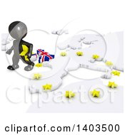 Clipart Of A 3d Black EU Referendum Man Walking Away From A Map On A White Background Royalty Free Illustration