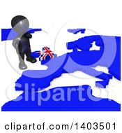 Clipart Of A 3d Black EU Referendum Man Standing Over A Map On A White Background Royalty Free Illustration