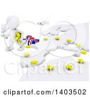 Clipart Of A 3d White EU Referendum Man Walking Away From A Map On A White Background Royalty Free Illustration