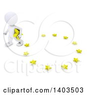 Clipart Of A 3d White EU Referendum Man Carrying A Star And Walking Away From A Circle On A White Background Royalty Free Illustration