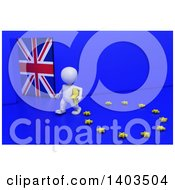 3d White EU Referendum Man Carrying A Star And Walking Away From A Ring On A Blue Background