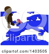 3d Brown EU Referendum Man Standing Over A Map On A White Background