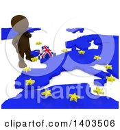 Clipart Of A 3d Brown EU Referendum Man Standing Over A Map On A White Background Royalty Free Illustration