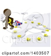 Clipart Of A 3d Brown EU Referendum Man Walking Away From A Map On A White Background Royalty Free Illustration