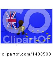 Clipart Of A 3d Brown EU Referendum Man Carrying A Star And Walking Away From A Ring On A Blue Background Royalty Free Illustration