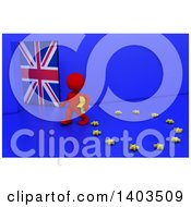 Clipart Of A 3d Red EU Referendum Man Carrying A Star And Walking Away From A Ring On A Blue Background Royalty Free Illustration