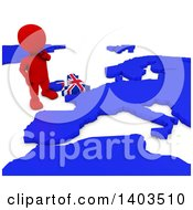 Clipart Of A 3d Red EU Referendum Man Standing Over A Map On A White Background Royalty Free Illustration