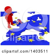 3d Red EU Referendum Man Standing Over A Map On A White Background