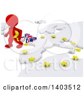 Clipart Of A 3d Red EU Referendum Man Walking Away From A Map On A White Background Royalty Free Illustration