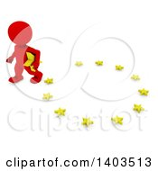 Clipart Of A 3d Red EU Referendum Man Carrying A Star And Walking Away From A Circle On A White Background Royalty Free Illustration