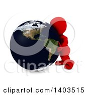 Clipart Of A 3d Red Man Hugging The Earth On A White Background Royalty Free Illustration by KJ Pargeter