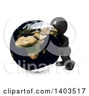Clipart Of A 3d Black Man Hugging The Earth On A White Background Royalty Free Illustration by KJ Pargeter