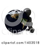 3d Black Man Hugging The Earth On A White Background