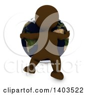 3d Brown Man Hugging The Earth On A White Background