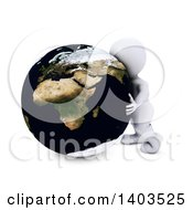 3d White Man Hugging The Earth On A White Background