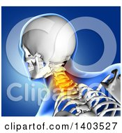 Clipart Of A 3d Xray Anatomical Man With Visible Spine And Glowing Pain Over Blue Royalty Free Illustration