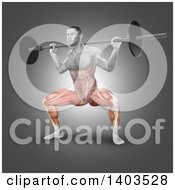 Clipart Of A 3d Fit Anatomical Man Doing Barbell Plie Squats With Visible Lower Body Muscles On Gray Royalty Free Illustration