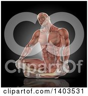 Clipart Of A 3d Fit Anatomical Man Stretching His Neck With Visible Muscles On Black Royalty Free Illustration