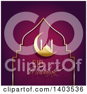 Clipart Of An Eid Mubarak Background With A Silhouetted Gold Mosque In A Crescent Moon And Text On Purple Royalty Free Vector Illustration